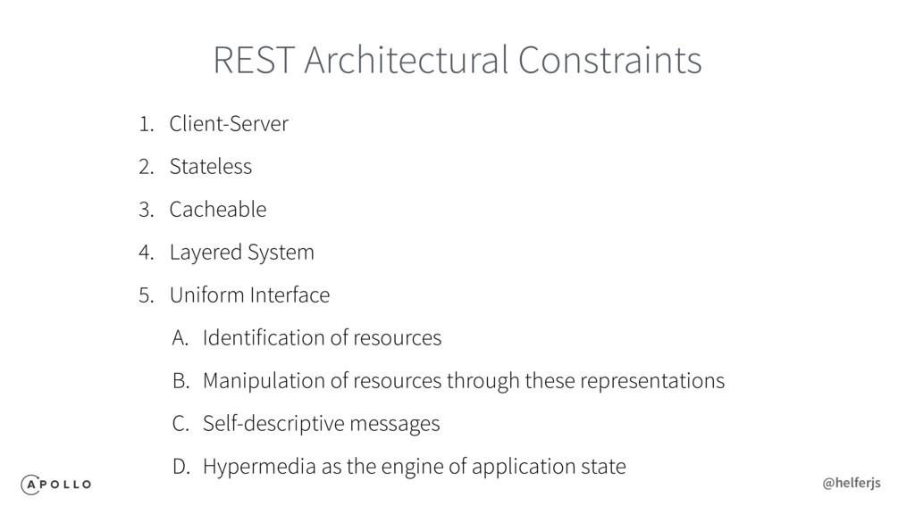 REST Architectural Constraints 1. Client-Server...