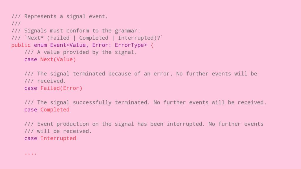 /// Represents a signal event. /// /// Signals ...