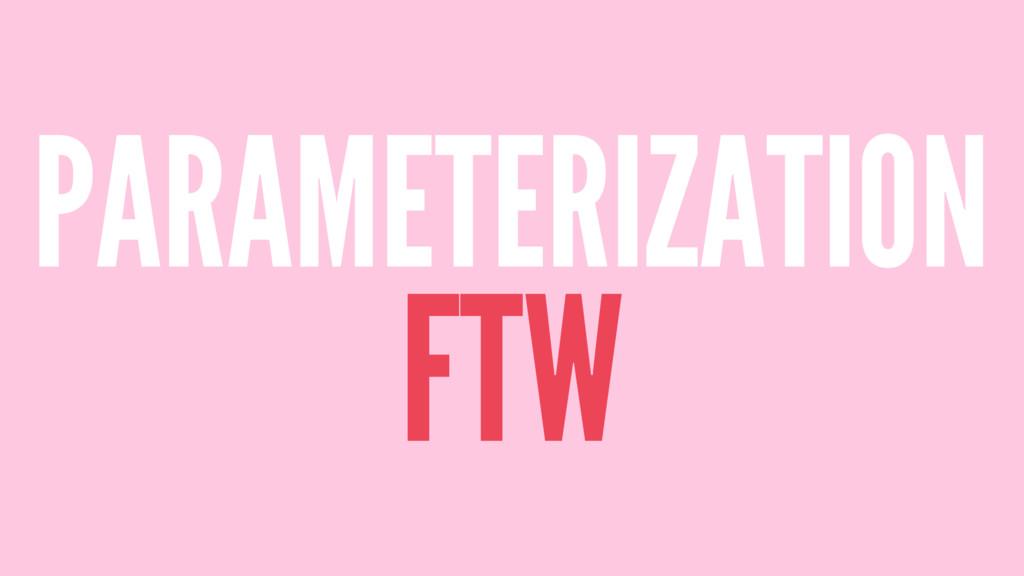 PARAMETERIZATION FTW