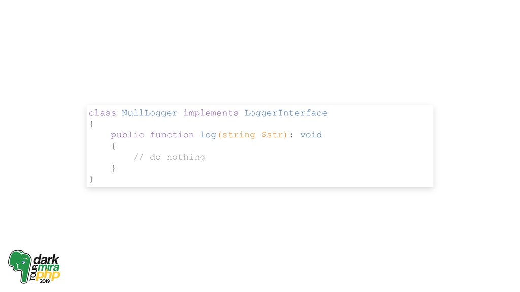 class NullLogger implements LoggerInterface { p...