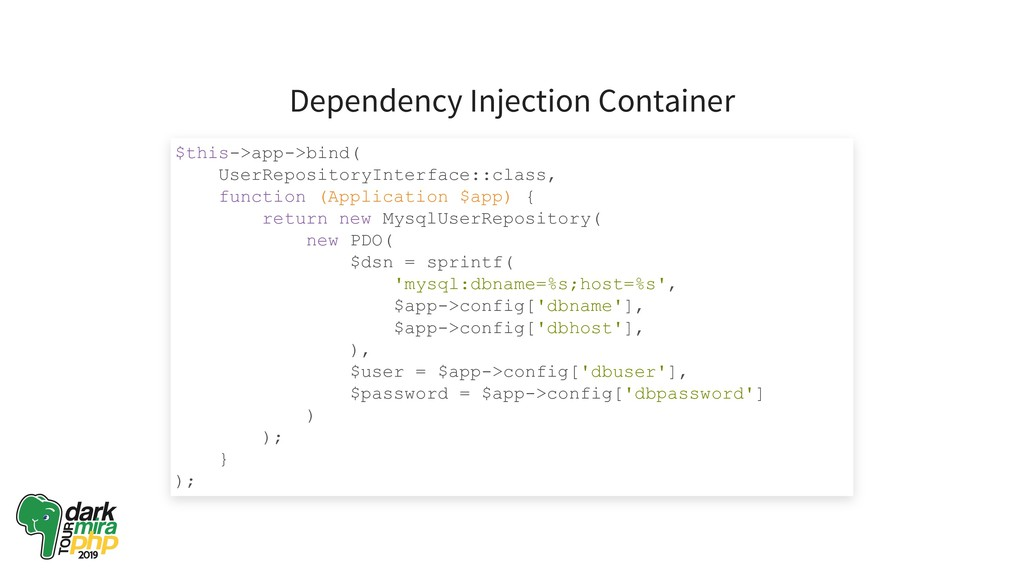 Dependency Injection Container $this­>app­>bind...