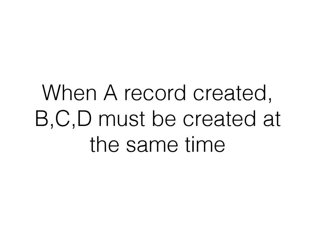 When A record created, B,C,D must be created at...