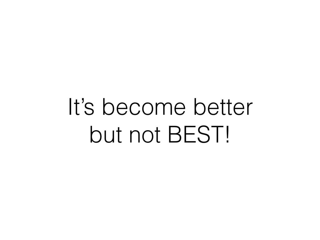 It's become better but not BEST!