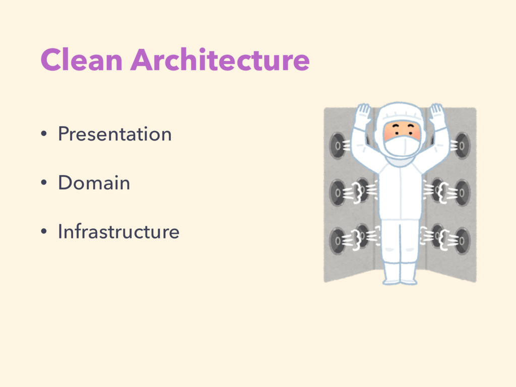 Clean Architecture • Presentation • Domain • In...