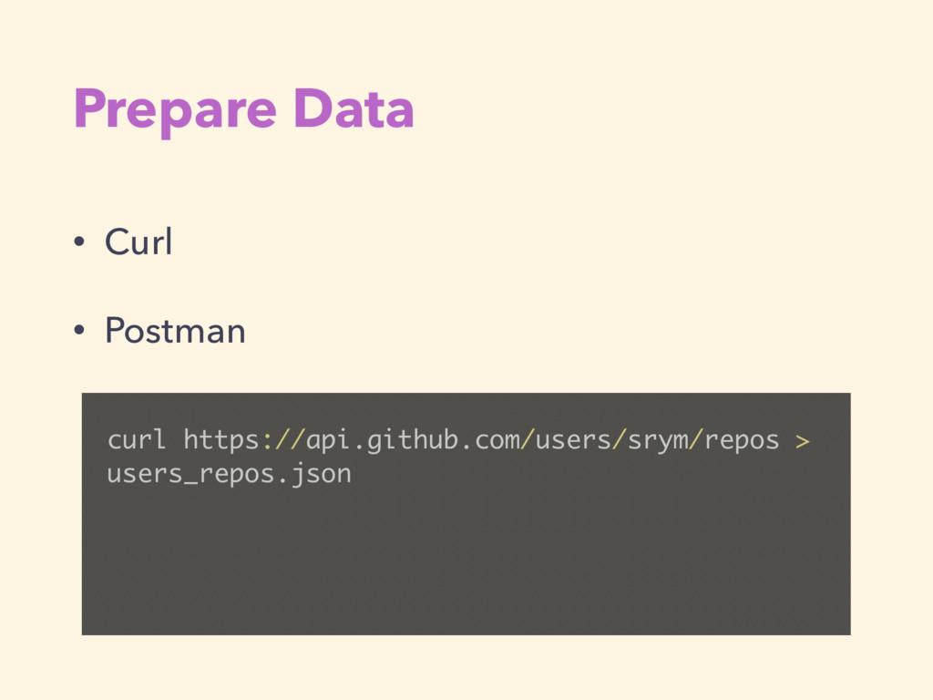 Prepare Data • Curl • Postman curl https://api....