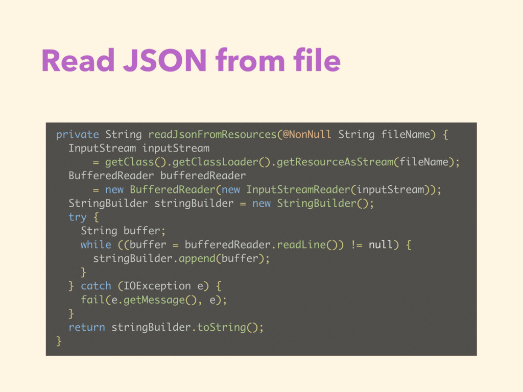 Read JSON from file private String readJsonFromR...