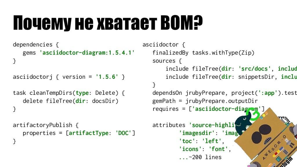 Почему не хватает BOM? dependencies { gems 'asc...