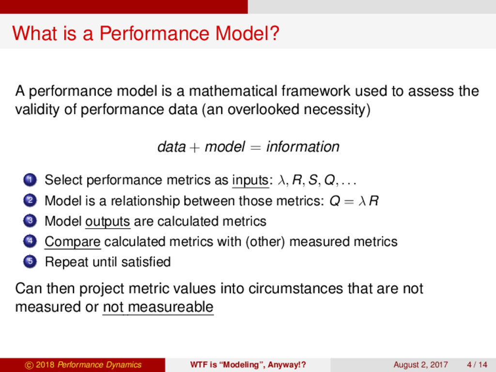 What is a Performance Model? A performance mode...