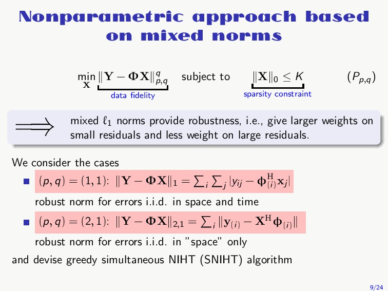 Nonparametric approach based on mixed norms min...
