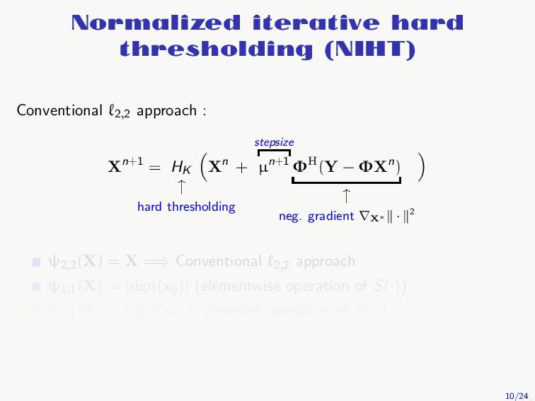 Normalized iterative hard thresholding (NIHT) C...