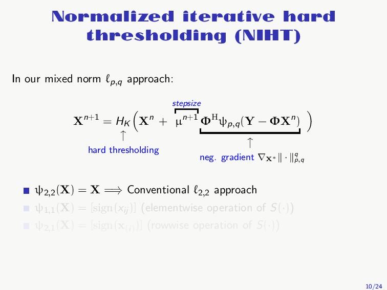 Normalized iterative hard thresholding (NIHT) I...