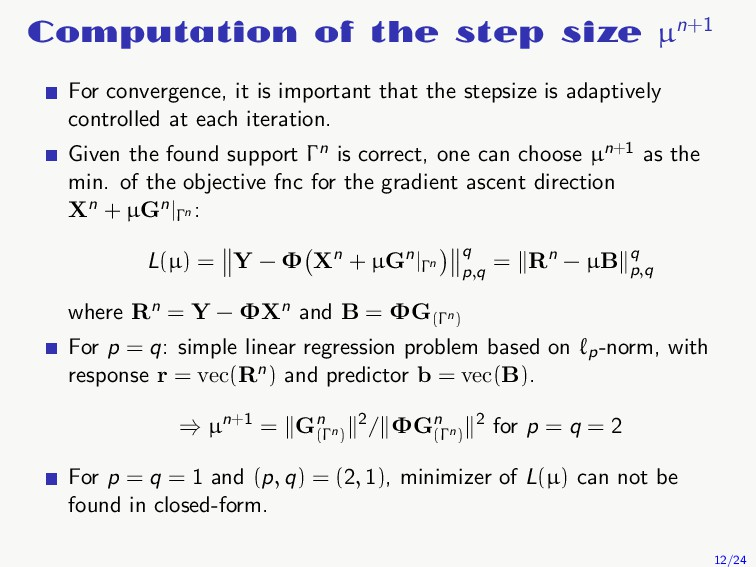 Computation of the step size µn+1 For convergen...