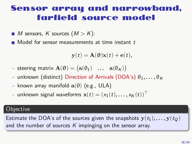 Sensor array and narrowband, farfield source mod...