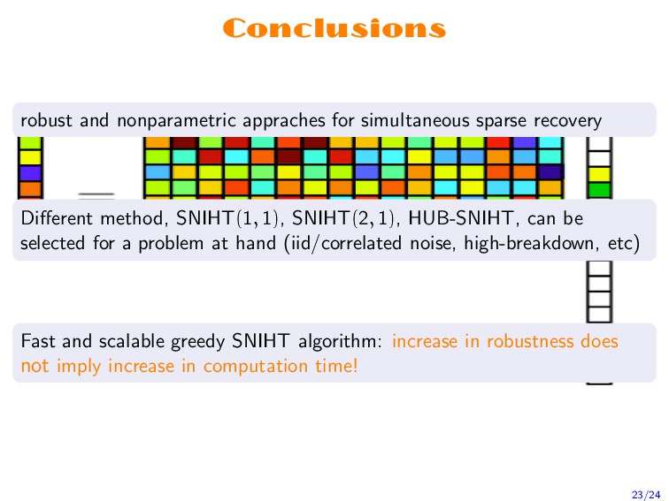 Conclusions robust and nonparametric appraches ...