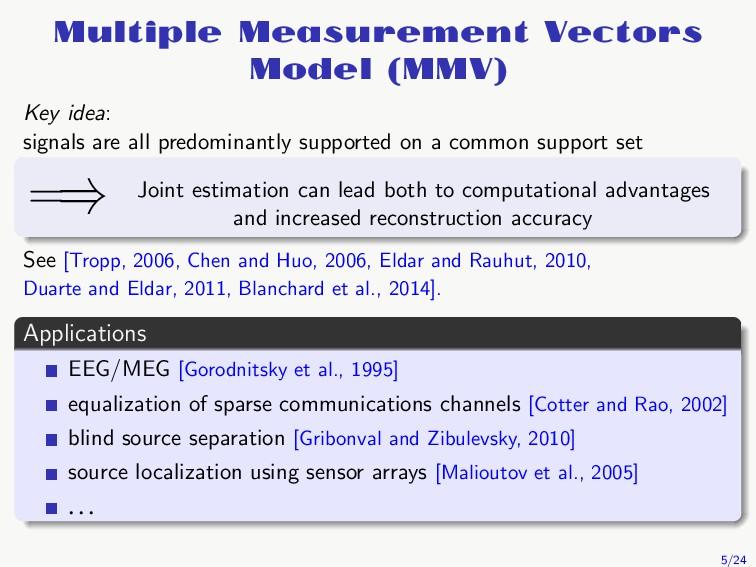Multiple Measurement Vectors Model (MMV) Key id...