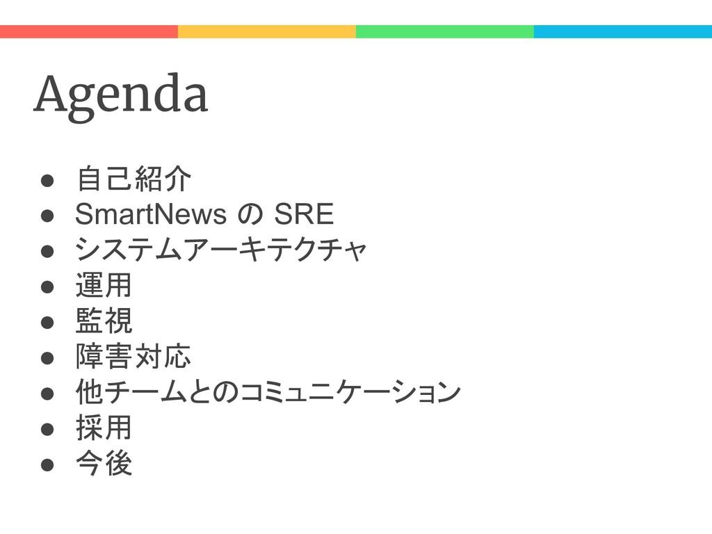 Agenda ● 自己紹介 ● SmartNews の SRE ● システムアーキテクチャ ●...
