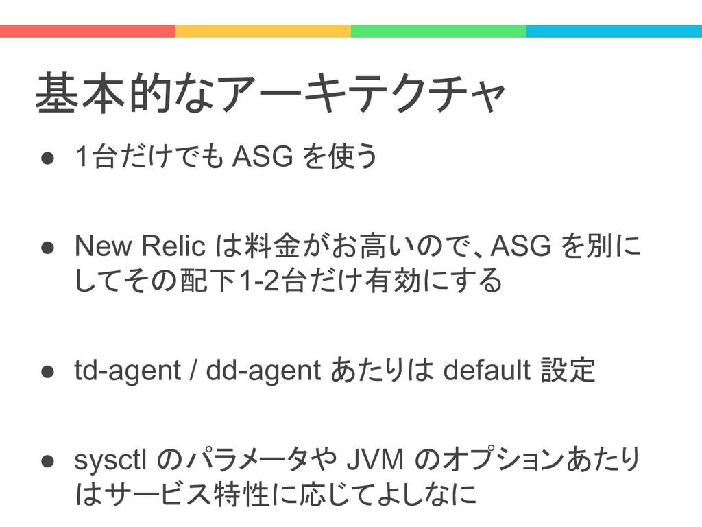 基本的なアーキテクチャ ● 1台だけでも ASG を使う ● New Relic は料金がお高...