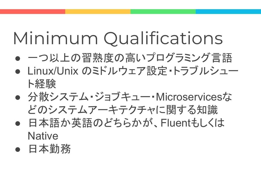 Minimum Qualifications ● 一つ以上の習熟度の高いプログラミング言語 ●...