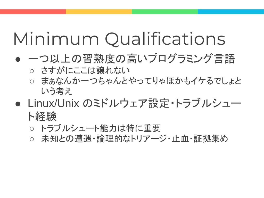 Minimum Qualifications ● 一つ以上の習熟度の高いプログラミング言語 ○...