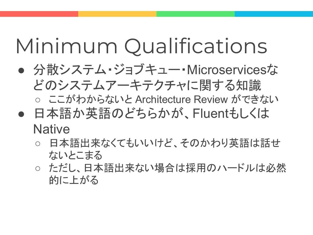 Minimum Qualifications ● 分散システム・ジョブキュー・Microser...