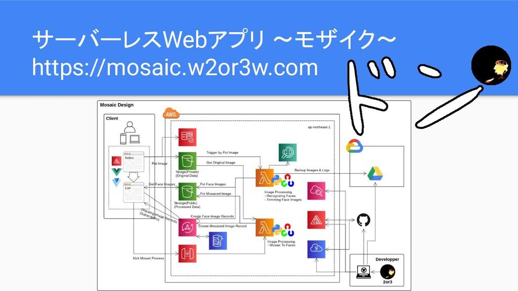 サーバーレスWebアプリ 〜モザイク〜 https://mosaic.w2or3w.com