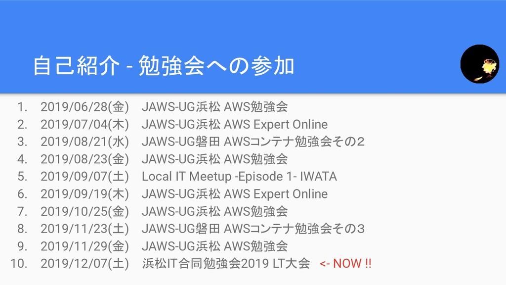 1. 2019/06/28(金) JAWS-UG浜松 AWS勉強会 2. 2019/07/04...