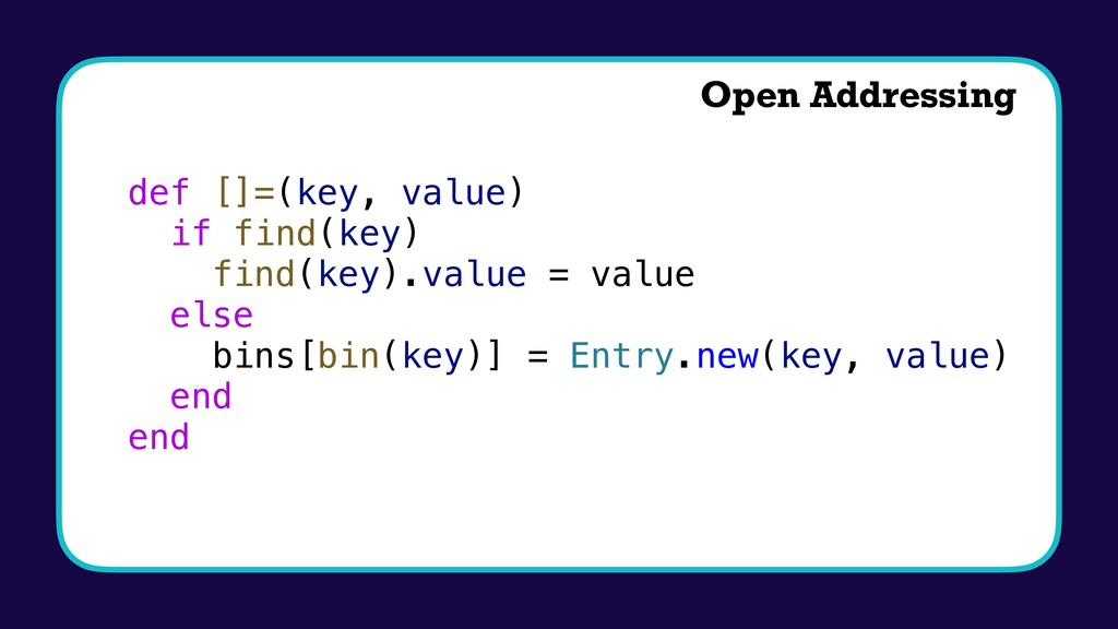 def []=(key, value) if find(key) find(key).valu...