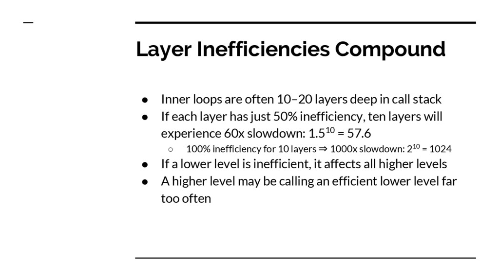 Layer Inefficiencies Compound ● Inner loops are...