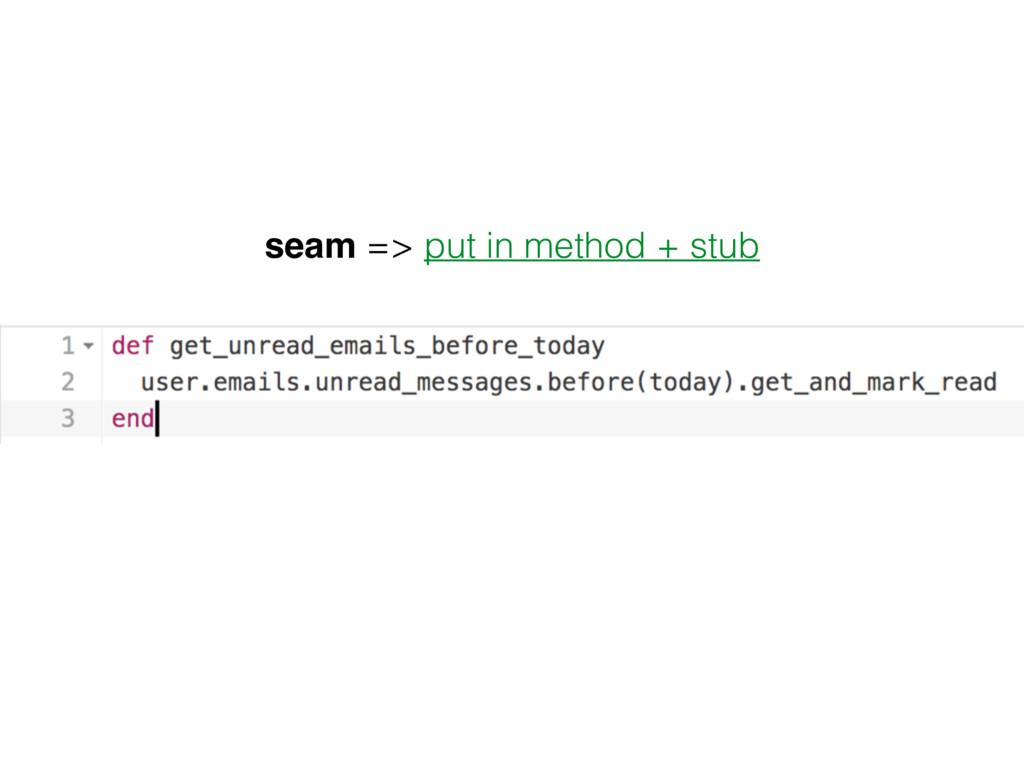 seam => put in method + stub