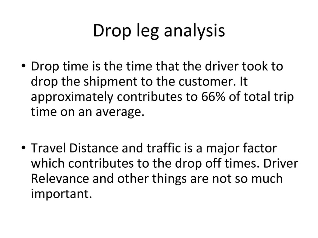 Drop leg analysis • Drop time is the time that ...