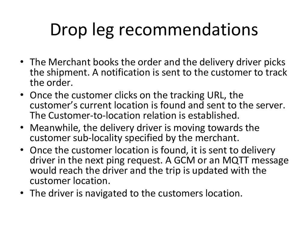 Drop leg recommendations • The Merchant books t...