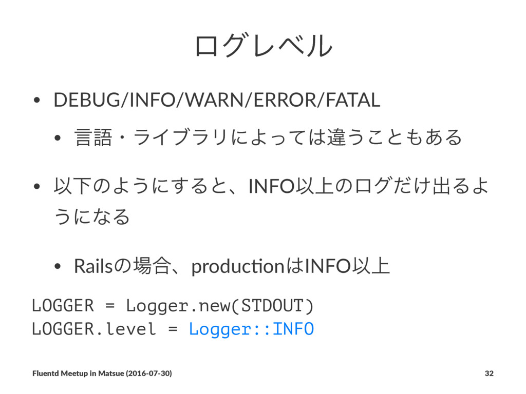 ϩάϨϕϧ • DEBUG/INFO/WARN/ERROR/FATAL • ݴޠɾϥΠϒϥϦʹ...