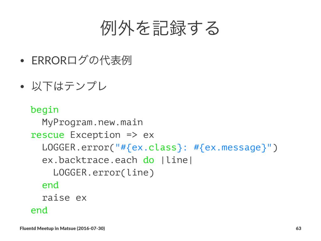 ྫ֎Λه͢Δ • ERRORϩάͷදྫ • ҎԼςϯϓϨ begin MyProgram...