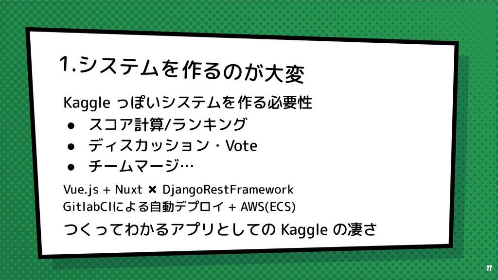 Kaggle っぽいシステムを作る必要性 ● スコア計算/ランキング ● ディスカッション・V...