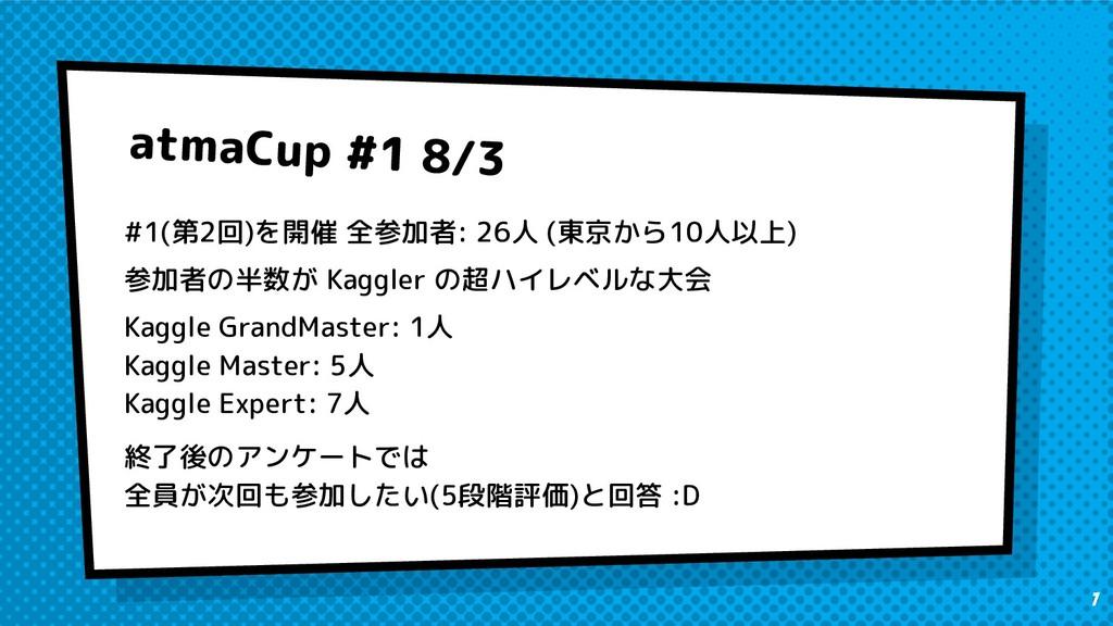 atmaCup #1 8/3 #1(第2回)を開催 全参加者: 26人 (東京から10人以上)...