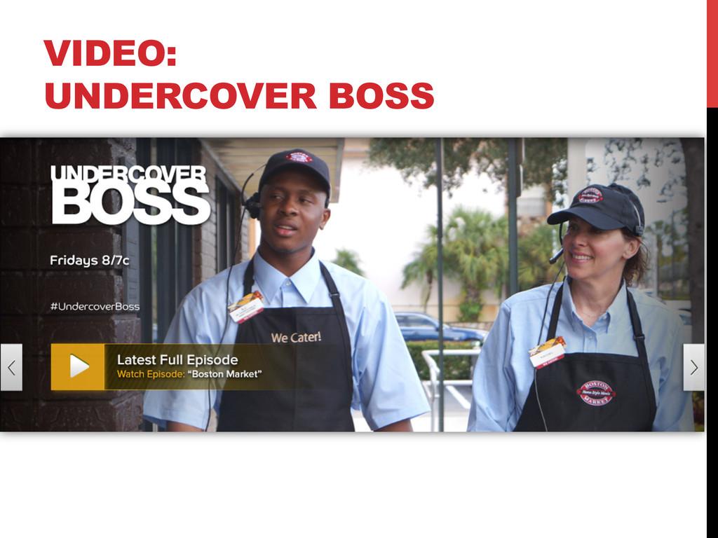 VIDEO: UNDERCOVER BOSS