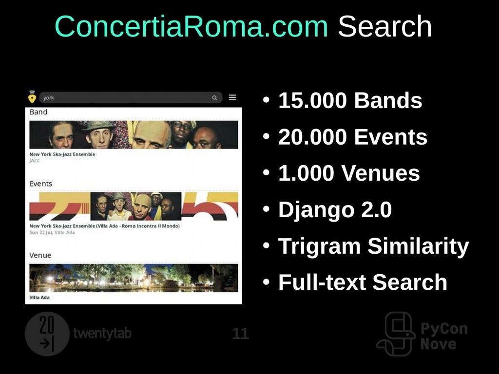 11 ConcertiaRoma.com Search ● 15.000 Bands ● 20...