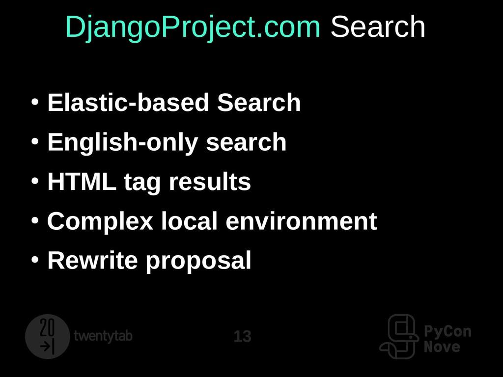 13 DjangoProject.com Search ● Elastic-based Sea...