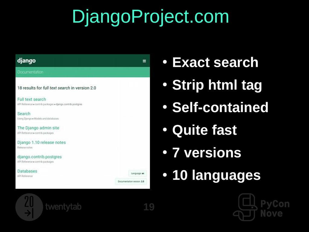 19 DjangoProject.com ● Exact search ● Strip htm...