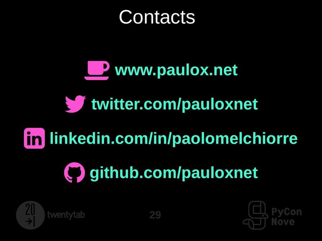 29 Contacts  www.paulox.net  twitter.com/paul...