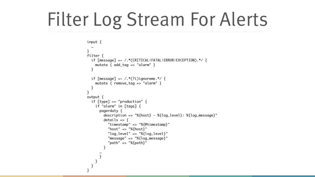 Filter Log Stream For Alerts input { … } filter...
