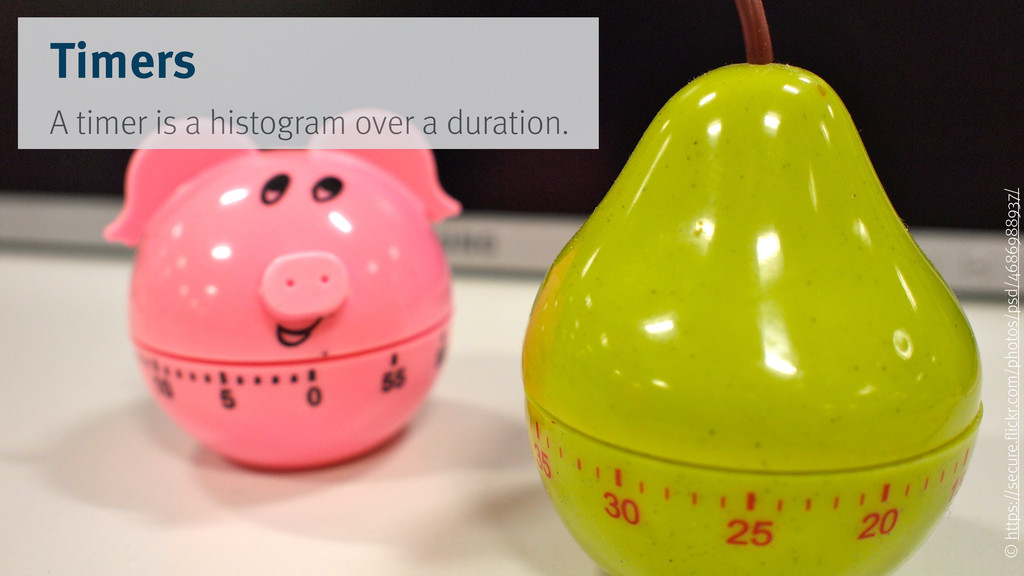 Timers A timer is a histogram over a duration. ...