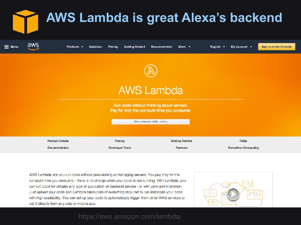 AWS Lambda is great Alexa's backend https://aws...