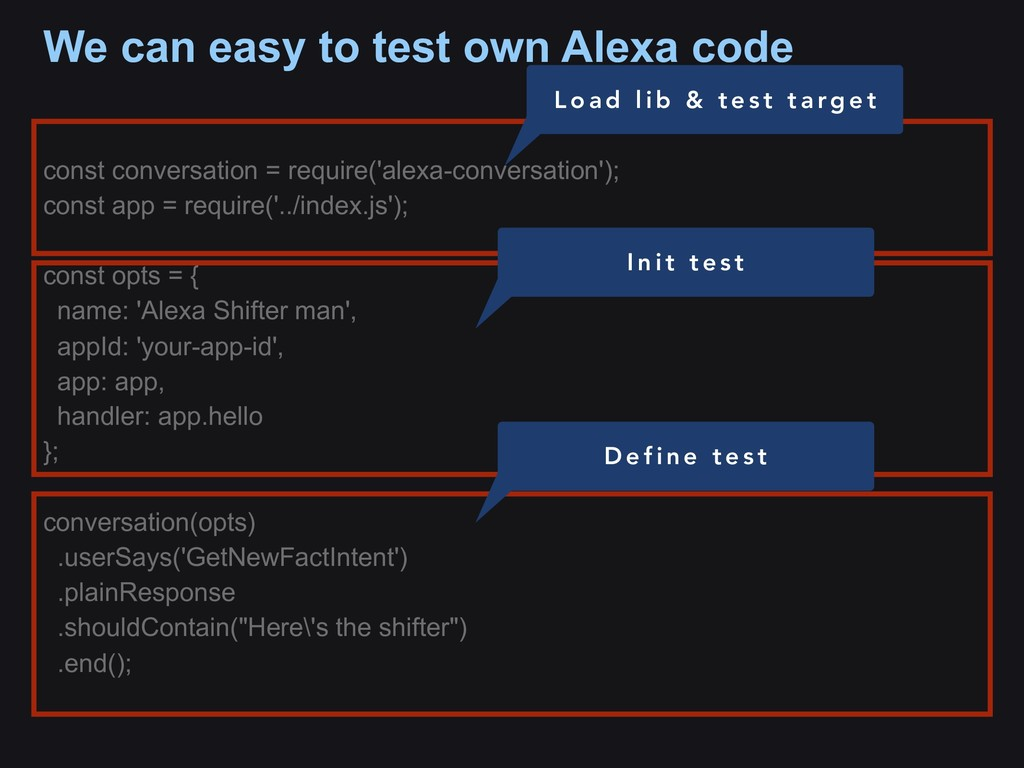 We can easy to test own Alexa code const conver...
