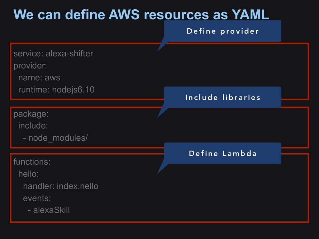 We can define AWS resources as YAML service: al...
