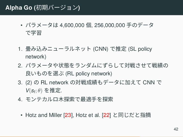 Alpha Go (初期バージョン) • パラメータは 4,600,000 個, 256,00...