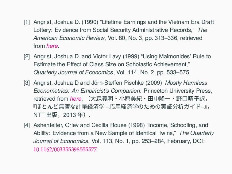 """[1] Angrist, Joshua D. (1990) """"Lifetime Earning..."""