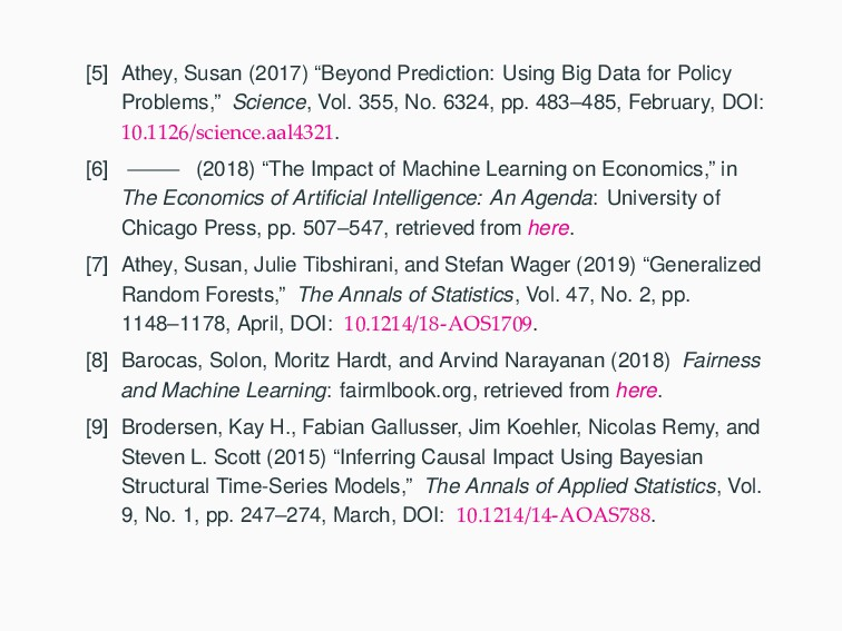 """[5] Athey, Susan (2017) """"Beyond Prediction: Usi..."""