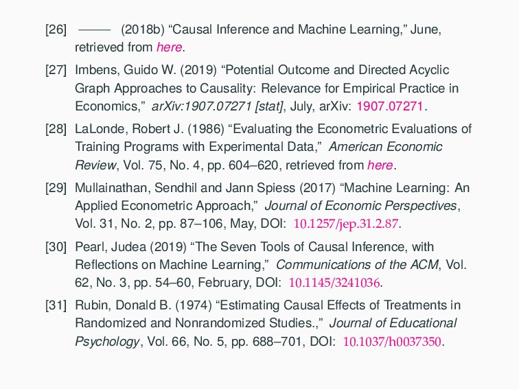 "[26] (2018b) ""Causal Inference and Machine Lear..."