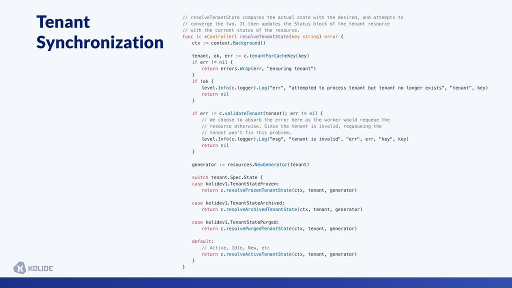 Tenant Synchronization // resolveTenantState co...